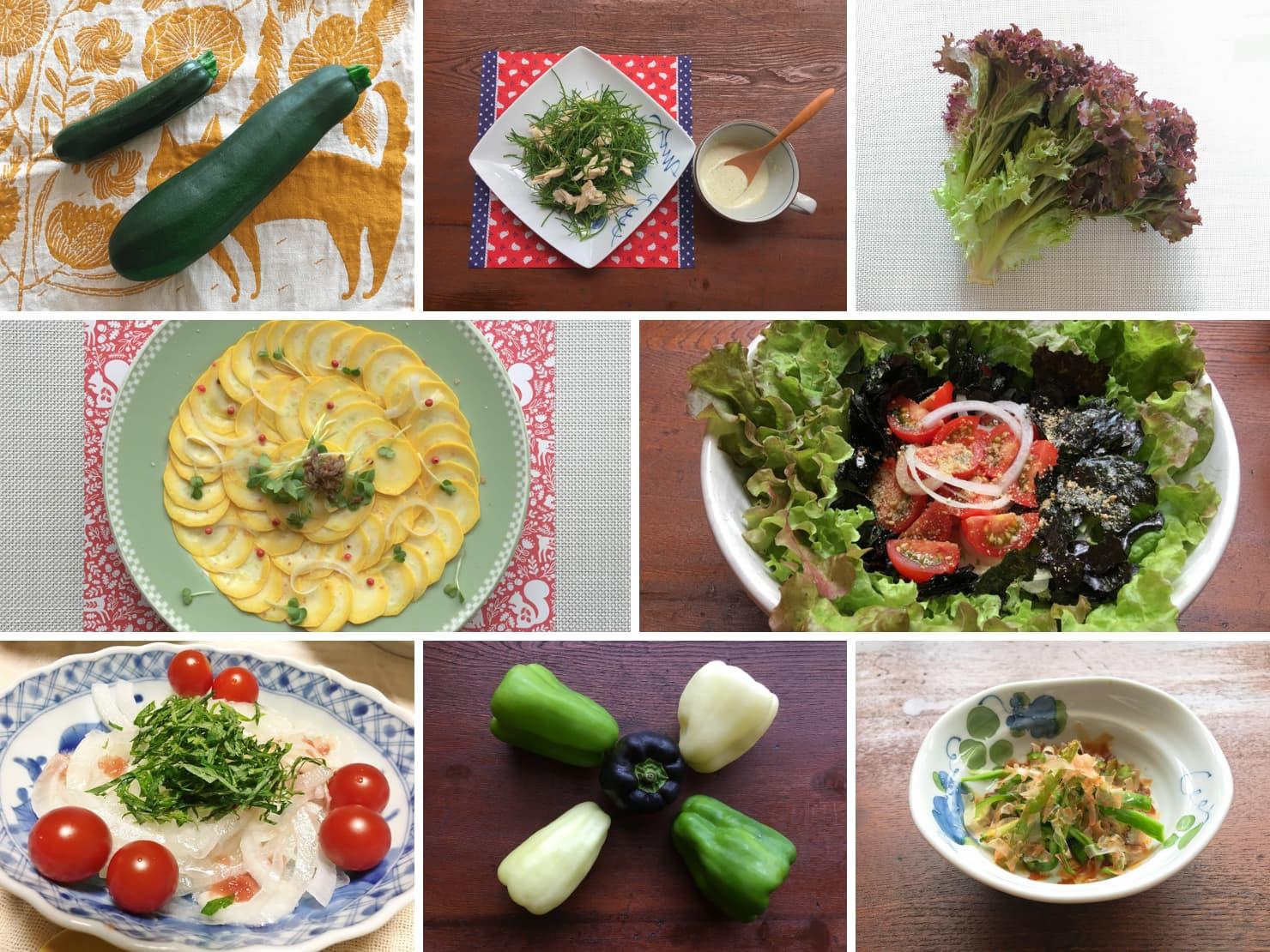 生ですぐ食べられる野菜とその料理の写真