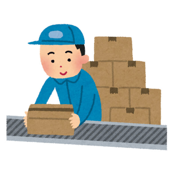 倉庫で働く人のイラスト