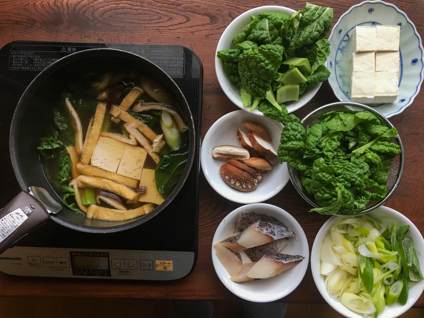 かつお菜とたらの鍋の写真