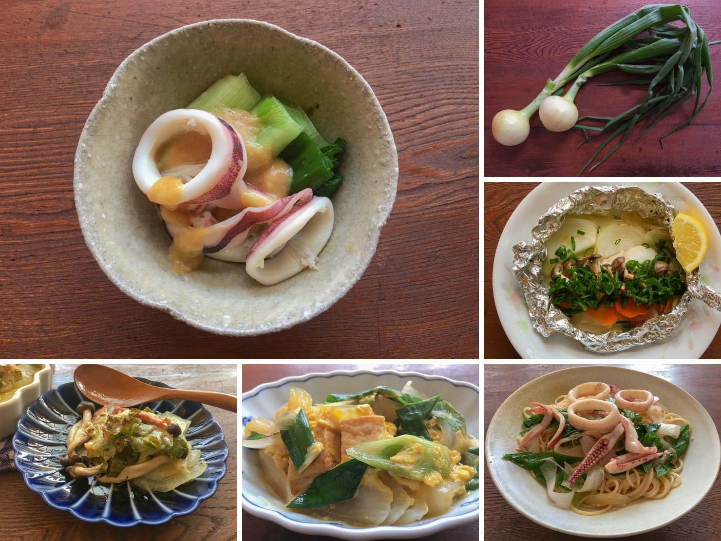 葉玉ねぎと葉玉ねぎの料理の写真