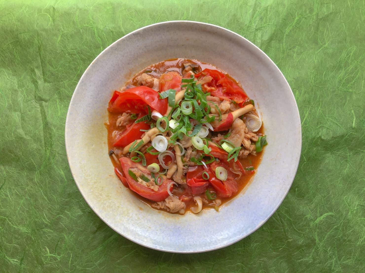 トマトと豚肉のオイスターソース炒めの写真