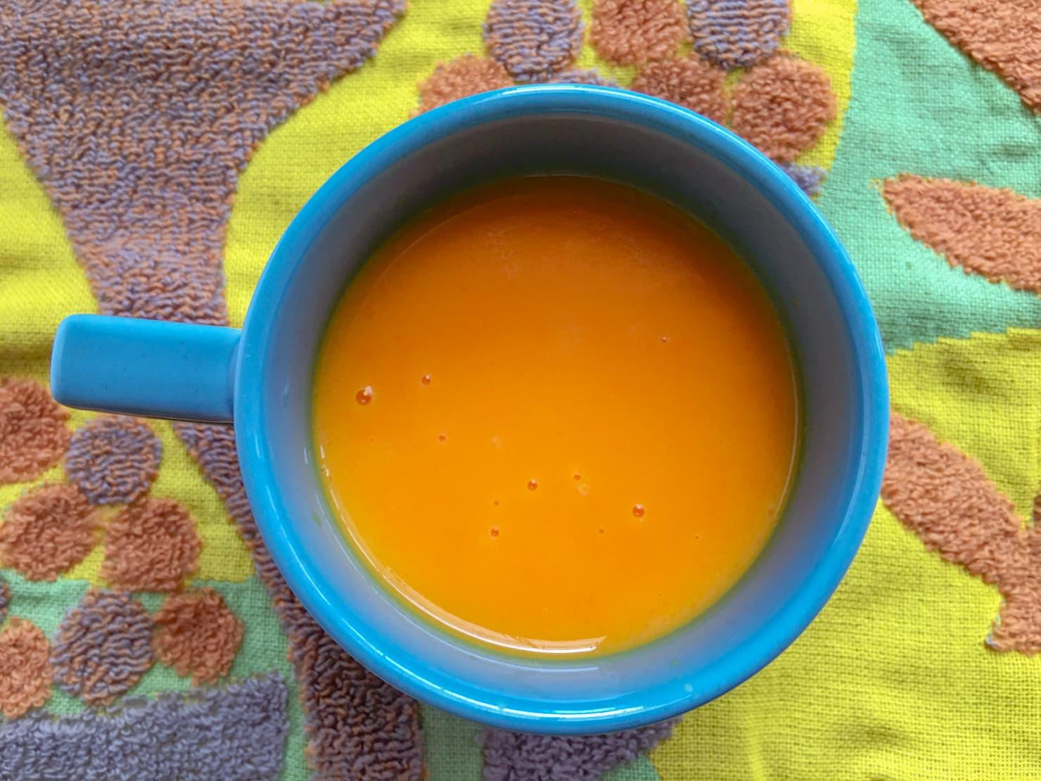 コリンキーとにんじんのポタージュスープの写真