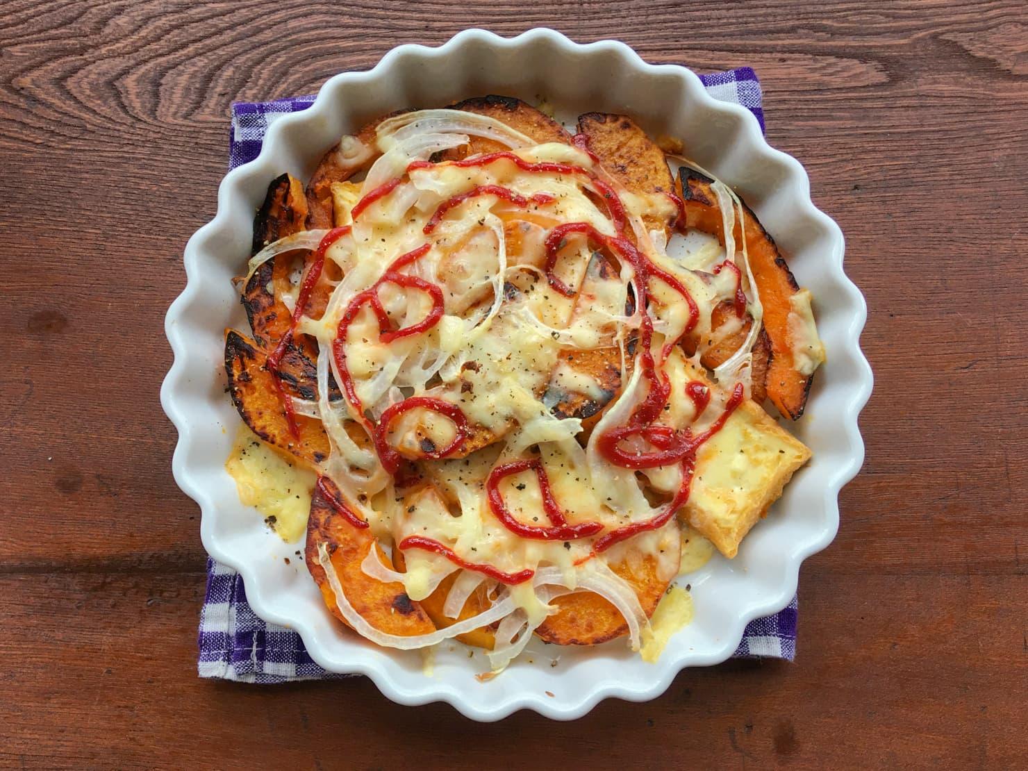 バターナッツかぼちゃと厚揚げのチーズ焼きの写真