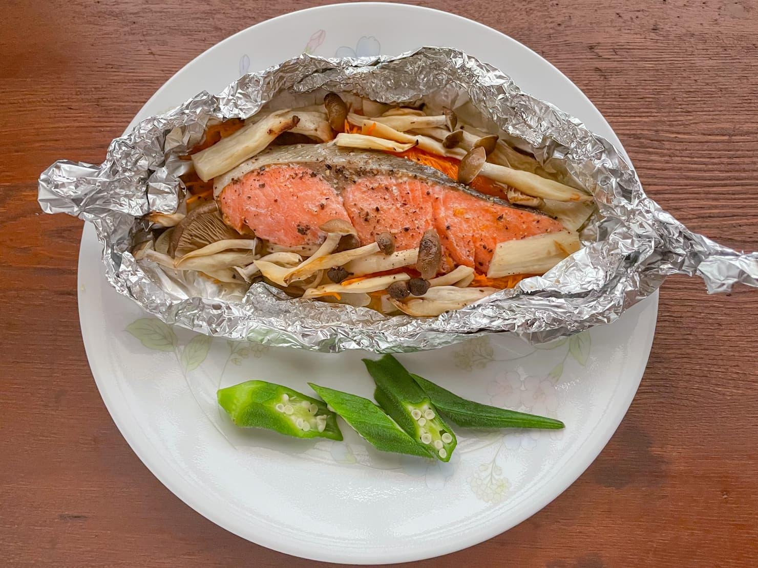 鮭と野菜のホイル焼きの写真